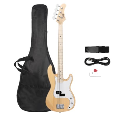 Glarry GP Ⅱ Upgrade Electric Bass Guitar Burlywood for sale