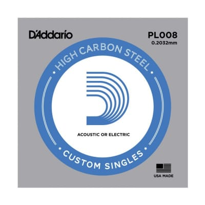 D'Addario Nickel Plain Electric/Acoustic Single String PL008