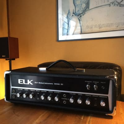 Elk Viking 53 amplifier head  with spring reverb and a funky tremolo- 1970s Black Silver MIJ for sale