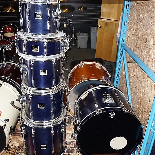 used yamaha stage custom 6pc drum kit 6 piece kit blue. Black Bedroom Furniture Sets. Home Design Ideas