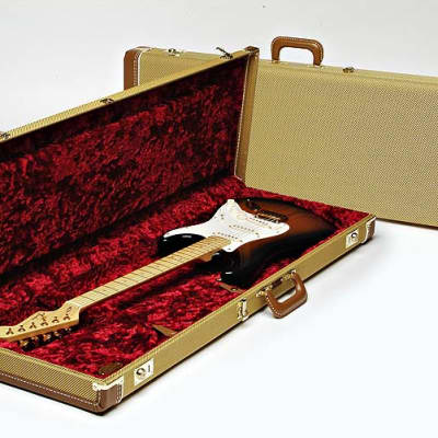 Fender Deluxe Stratocaster or Telecaster Tweed with Red Poodle Plush Interior Electric Guitar Case for sale