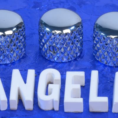 """Three Chrome Vintage Tele Style Knobs With Super Heavy Knurling For 1/4"""" Solid Shaft CTS Pots NEW!"""