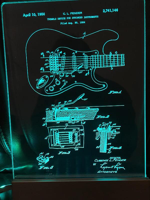 Fender Stratocaster Guitar Patent Edge Lit Acrylic Led