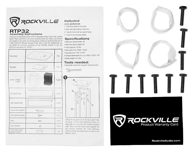 1 Rockville White Adjustable Totem Stand For Electro
