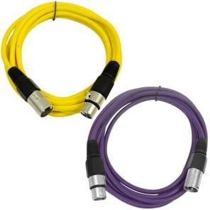 Seismic Audio SAXLX-10-YELLOWPURPLE XLR Male to XLR Female Patch Cables - 10' (2-Pack)