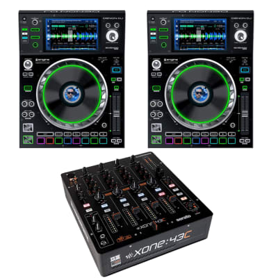 "(2) Denon DJ SC5000M Prime DJ Media Player with Motorized Platter & 7"" Multi-Touch Display + Allen & Heath XONE:43C - 4+1 Channel DJ Mixer with Soundcard"