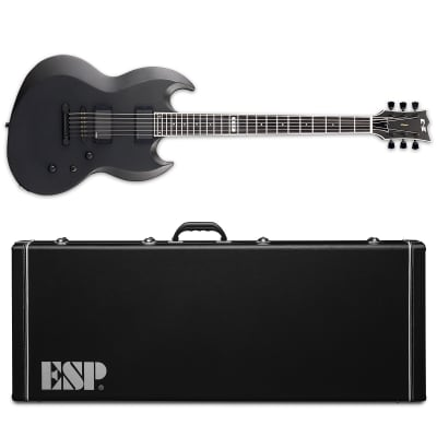 ESP E-II Viper Baritone Charcoal Metallic Satin Electric Guitar + Hardshell Case EII for sale
