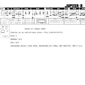 Roland Jupiter-8 Original Factory Patch Sheets