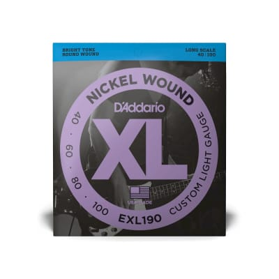 D'Addario EXL190 Nickel Wound Bass, Custom Light, 40-100, Long Scale