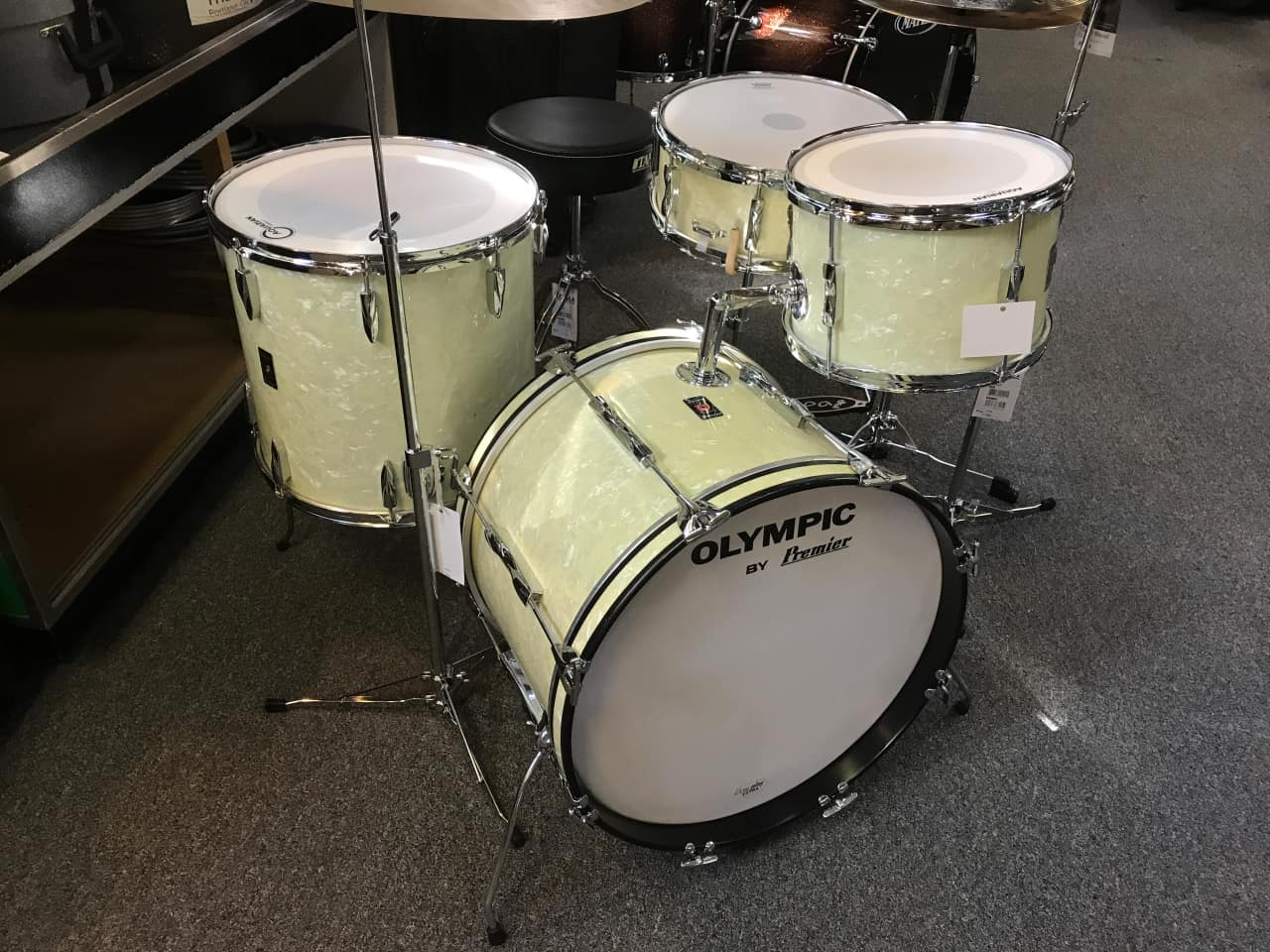 Vintage 70s premier olympic drum set in white marine reverb for Classic house drums