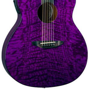 Luna GYP E QA TPP Gypsy Acoustic-Electric Guitar, Trans Purple for sale