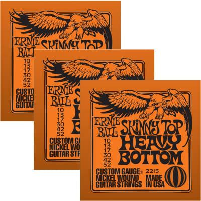 ERNIE BALL Skinny Top Heavy Bottom Nickel Wound Electric Guitar Strings (2215) - 3 Pack