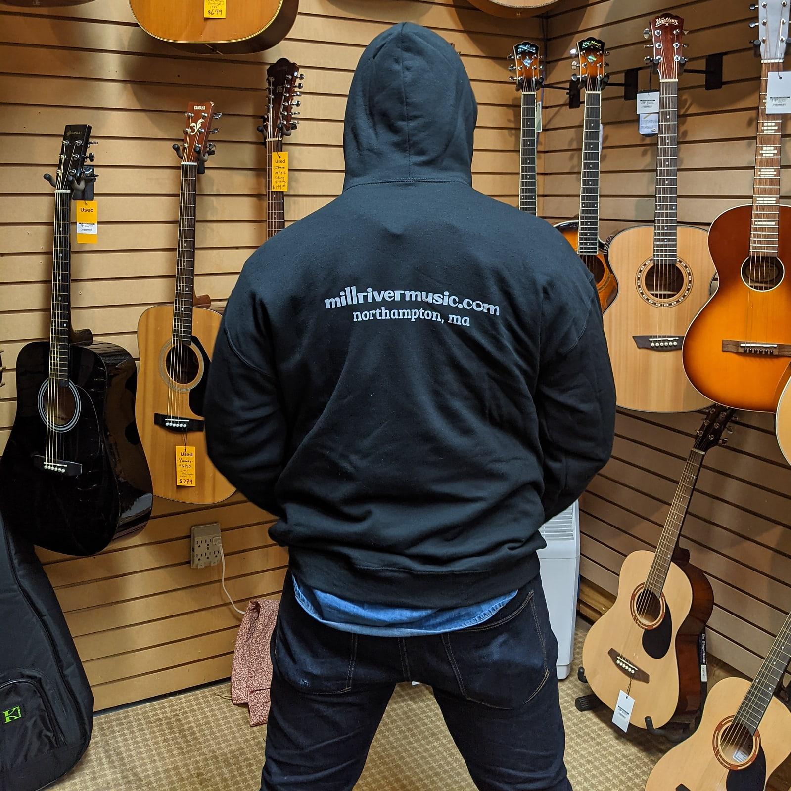 Mill River Music Pullover Hoodie 1st Edition Main Logo Unisex Black XL