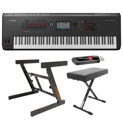 Yamaha Montage8 88-Key Flagship Music Synthesizer Workstation with Heavy Duty Z-Stand, Bench and Flash Drive