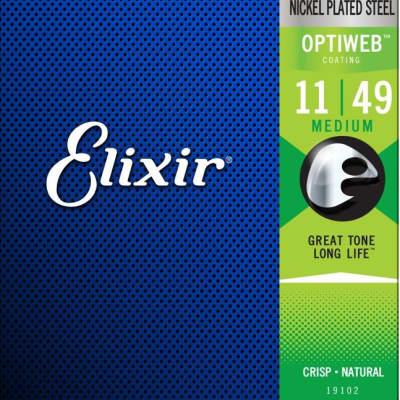 Elixir 19102 Electric Guitar Strings with OPTIWEB Coating, Medium, 11-49