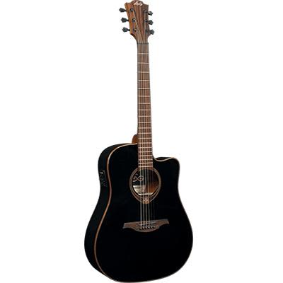 LAG T118DCE BLK Dreadnought Black Solid Top Red Cedar Cutaway Electro Acoustic Guitar for sale