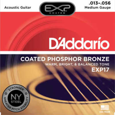 D'Addario EXP17 Coated Phosphor Bronze Acoustic Guitar Strings - 13-56