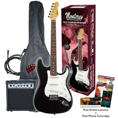 Monterey MGS-14 Electric Guitar Pack Black w/ Amplifier Gigbag & Accessories - MGS-14BKPAK for sale