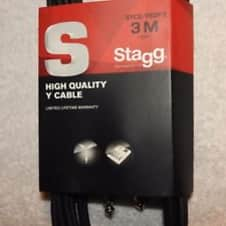 STAGG  Click to view larger image and other views NEW-Stagg-SYC3-P2P-E-Y-Cable-3m-10ft-Stereo-Jack-to-x2-J 2018 BLACK