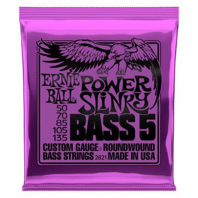 Ernie Ball Power Slinky 5-string Nickel Wound Electric Bass Guitar Strings 50-135