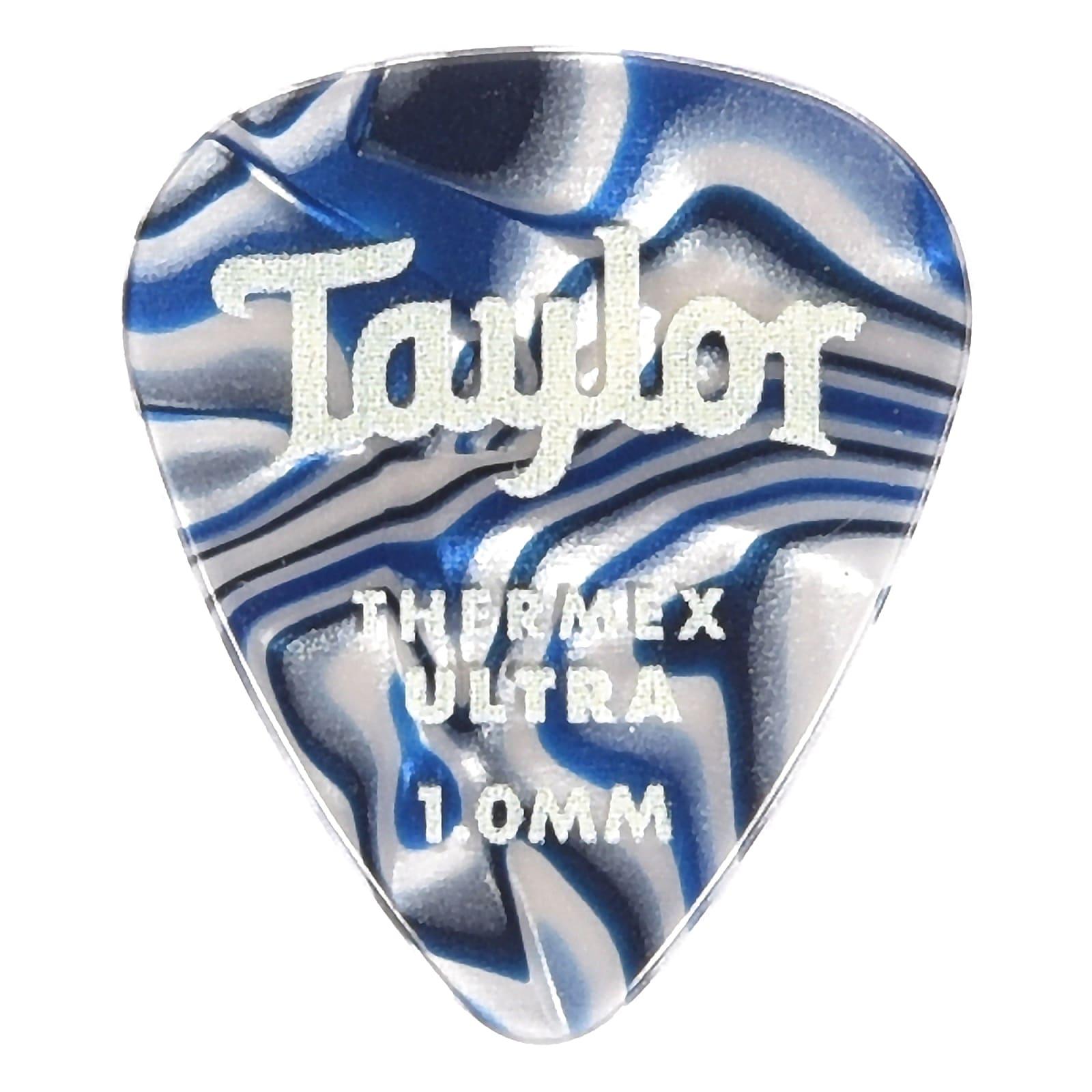 Taylor Premium Darktone 351 Thermex Ultra Picks Blue Swirl 1.00mm 6-Pack