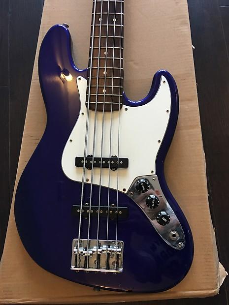 fender mexican electric jazz bass dark blue 5 string reverb. Black Bedroom Furniture Sets. Home Design Ideas