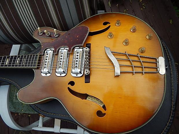 Harmony Vintage H 75 Hollow Body Guitar Ser 519 1966 2 Color Sunburst