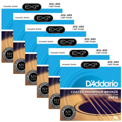 6 Sets DAddario EXP16 Coated Phosphor Bronze Acoustic Guitar Strings Light 12-53