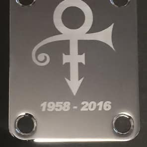 GUITAR NECK PLATE Custom Engraved Etched - PRINCE The Artist Symbol - Chrome