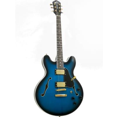 Oscar Schmidt OE30F Double Cut 6 Strings Classic Semi Hollow Body Electric Guitar - Flame Blue Burst for sale