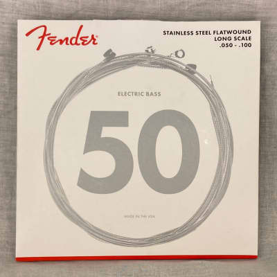 Fender 9050 Bass Strings, Stainless Steel Flatwound, 9050ML .050-.100 Gauges, (4) 2016