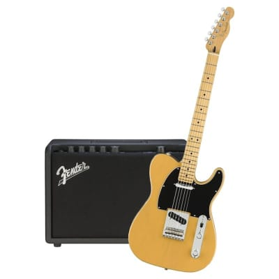 Fender Player Telecaster Blackguard Butterscotch Blonde Maple Neck & Fender Mustang GT 40 Bundle for sale