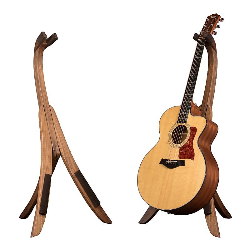 solid ground stands standard model walnut wood guitar stand reverb. Black Bedroom Furniture Sets. Home Design Ideas
