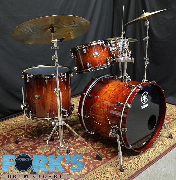 yamaha live custom oak wood 4 piece drumset amber shadow reverb. Black Bedroom Furniture Sets. Home Design Ideas