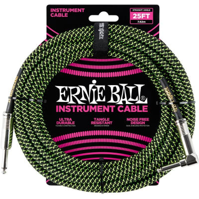 Ernie Ball 6066 Braided Instrument Cable, 25ft/7.6m, Black/Green for sale