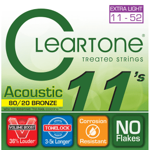 Cleartone Custom Light Gauge 80/20 Bronze Coated Acoustic Strings (11-52)