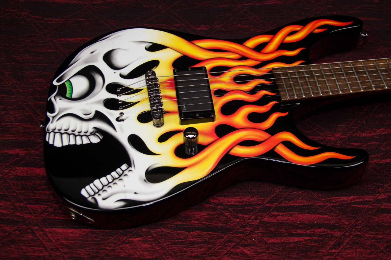 New Esp Ltd Screaming Flaming Skull Electric Guitar Reverb