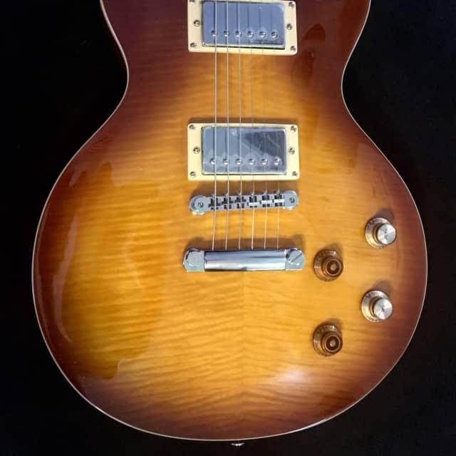 Vintage V100PGM Lemon Drop Flame Top Peter Green/Gary Moore Guitar & Vintage Gigbag  Demo Video LOOK image