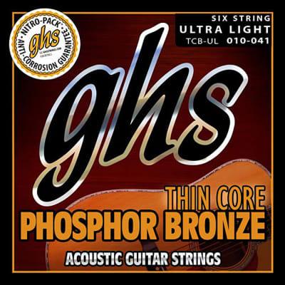 GHS TCB-UL Thin Core Phosphor Bronze Acoustic Guitar Strings, Ultra Light, 10-41