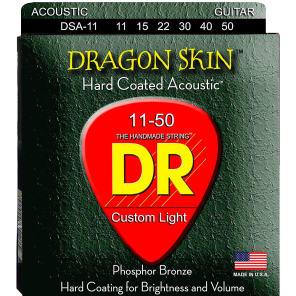 DR DSA-2/11 Dragon Skin Acoustic Guitar Strings - Medium Light (11-50), Pack of 2