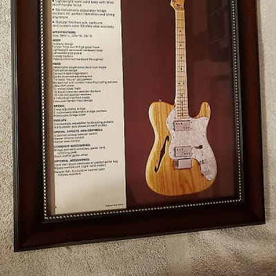 1972 Fender Guitars Color Promotional Ad Framed Telecaster Thinline Original