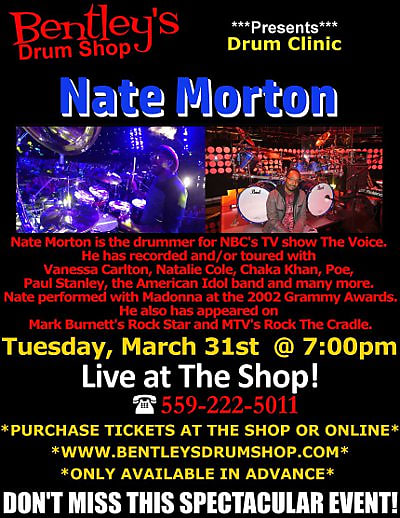 March 31st Bentley's Drum Shop Clinic VIP Ticket - Nate Morton (The Voice)