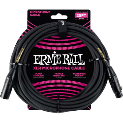 Ernie Ball 6073 Microphone Cable, 25ft/7.6m, Black for sale