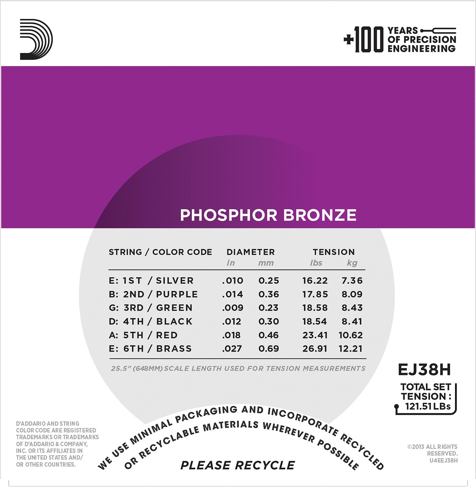 D'Addario EJ38H Phosphor Bronze Acoustic Guitar Strings, High Strung/Nashville