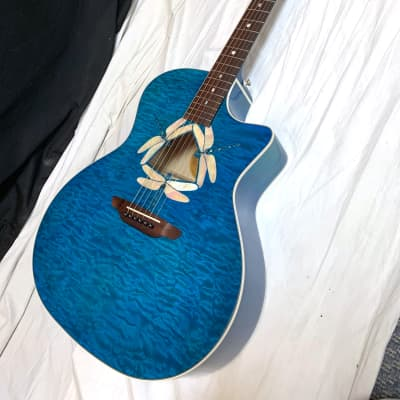 LUNA Fauna Dragonfly Quilt Maple acoustic electric GUITAR new Trans Teal Blue for sale