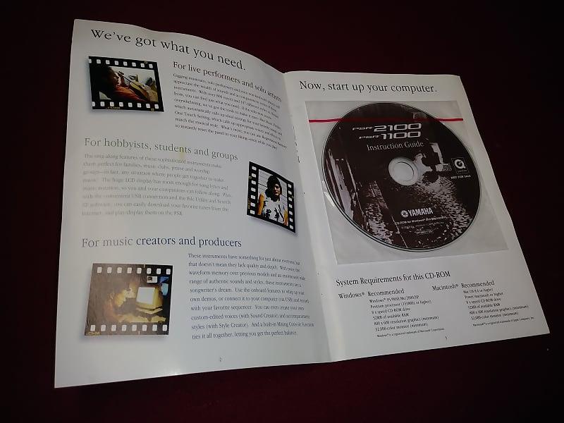 Yamaha PSR-2100 1100 Keyboard Instruction Manual & CD-ROM ~ Free Shipping!