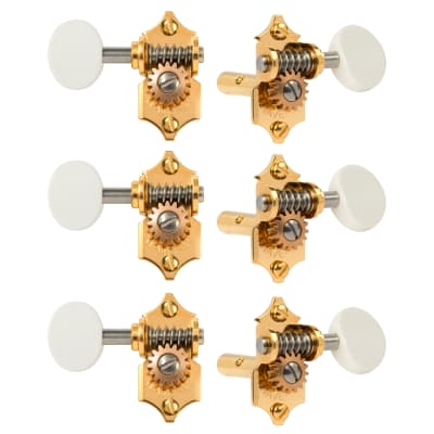 Waverly Guitar Tuners with White Knobs for Slotted Pegheads, Gold, 3L/3R for sale