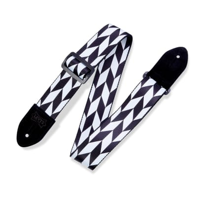 """Levys 2"""" Print Guitar Strap on Polyester w/ Suede Leather Ends Plastic Slide"""