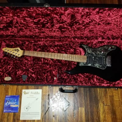 Vigier Excalibur  2015  Stratocaster Shiny Black Made In France Stainless Steel Frets No Adjustment Truss Rod Fender G&G Hard Case Custom  DiMarzio Pickups Elixir Strings Shop Perfection for sale