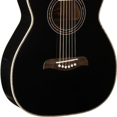 Oscar Schmidt Folk Style Acoustic Guitar, Select Spruce Top, Black, OF2B